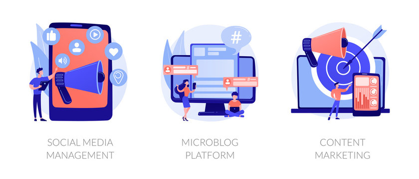 SMM business, internet blogging network, advertising strategy icons set. Social media management, microblog platform, content marketing metaphors. Vector isolated concept metaphor illustrations