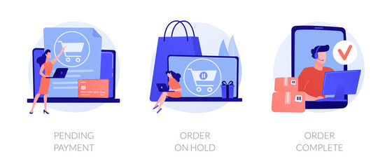 Electronic payment system, internet shopping, commercial business icons set. Pending payment, order on hold, order complete metaphors. Vector isolated concept metaphor illustrations