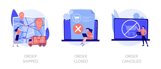 Foto op Plexiglas Op straat Parcel tracking system, digital shopping, online purchase distribution icons set. Order shipped, order closed, order canceled metaphors. Vector isolated concept metaphor illustrations