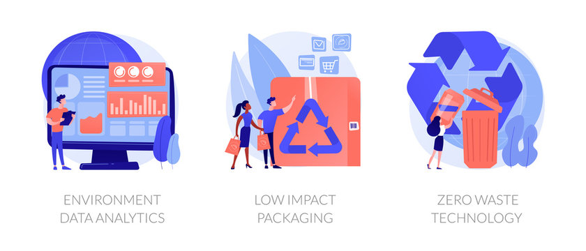 Ecology study and monitoring, sustainable packing, garbage recycling. Environment data analytics, low impact packaging, zero waste technology metaphors. Vector isolated concept metaphor illustrations