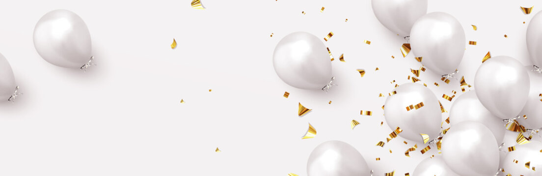 Festive background with helium balloons. Celebrate a birthday, Poster, banner happy anniversary. Realistic decorative design elements. Vector 3d object ballon, white color. flight up