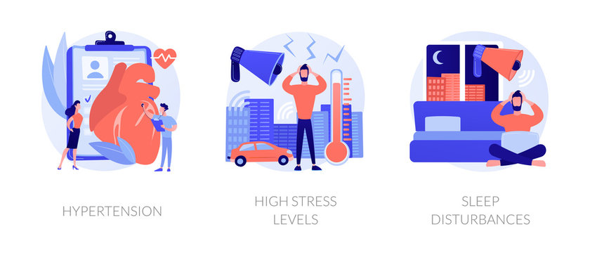 High blood pressure. Insomnia and somnipathy. Psychological problems, anxiety idea. Hypertension, high stress levels, sleep disturbances metaphors. Vector isolated concept metaphor illustrations