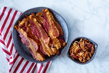 Hickory smoked bacon cooked in the oven