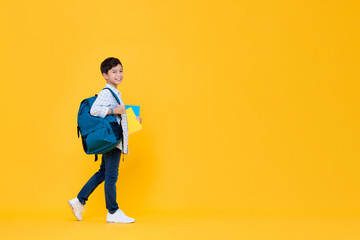 Handsome 10 year-old schoolboy holding books and backpack