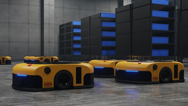 Warehouse in logistic center with Automated guided vehicle Is a delivery vehicle.