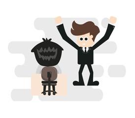 A businessman has an idea.vector illustration