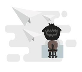 A businessman has an idea. vector illustration