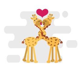Giraffes couple in love. vector illustration.