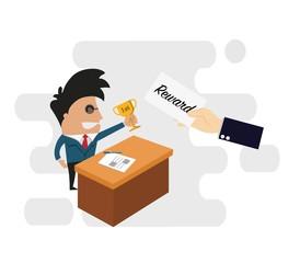 Business big hand giving bonus reward to businessman