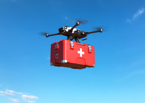 Drone with first aid kit on blue sky, Emergency medical care concept