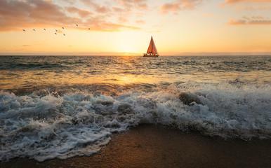 Wall Mural - Ocean Sunset Sailing