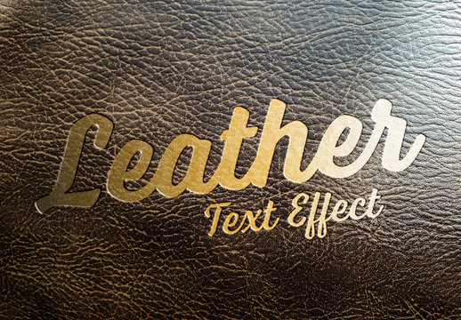 Golden Text Effect on Leather Mockup