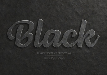 Black 3D Text Effect Mockup