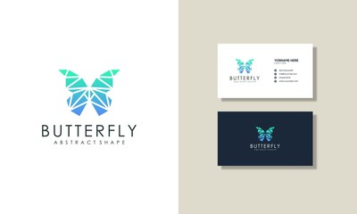 abstract modern butterfly logos and business cards