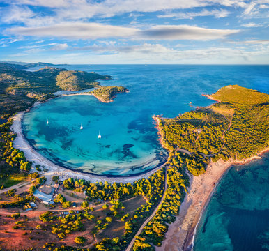 View from flying drone. Exotic spring view of Rondinara beach. Exciting morning seascape of Mediterranean sea. Attractive scene of Corsica island, France, Europe. Beauty of nature concept background..
