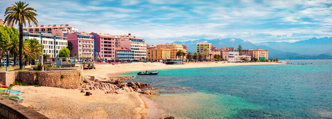 Photo sur Plexiglas Europe Méditérranéenne Panoramic spring cityscape of Ajaccio town. Splendid morning scene of Corsica island, France, Europe. Beautiful Mediterranean seascape. Traveling concept background.