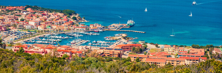 In de dag Mediterraans Europa Panoramic spring cityscape of Palau port, Province of Olbia-Tempio, Italy, Europe. Aerial morning scene of Sardinia island. Sunny mediterranean seascape. Traveling concept background.