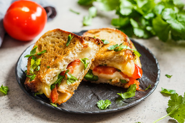Grilled cheese sandwich with tomato and greens, dark background.