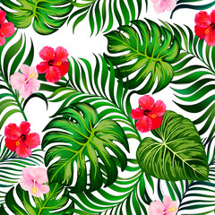 Exotic green seamless vector pattern with palm, banana and hibiscus flowers. Summer botanical backgrioud. Trendy summer print.