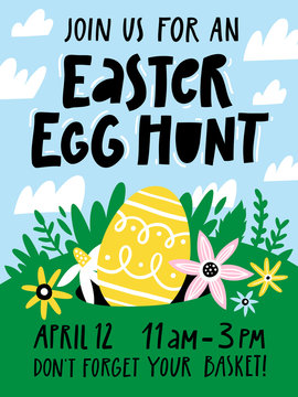 Easter egg hunt invitation or poster template with flowers, egg, elements composition.