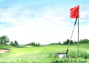 Golf club with ball and flag on Beautiful golf course with green field with a rich turf, Hand drawn watercolor illustration and background