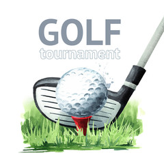 Golf tournament poster. Golf club and ball in grass. Hand drawn watercolor illustration, isolated on white background