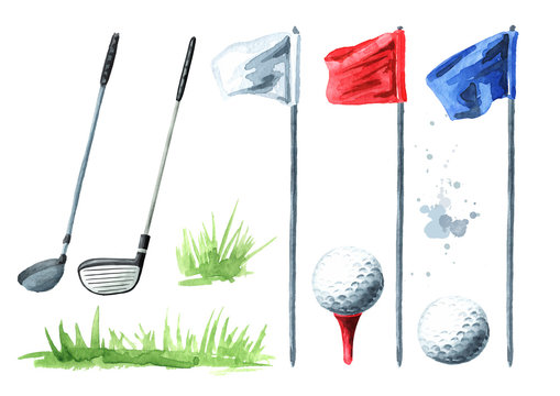 Golf club, flag and ball set. Hand drawn watercolor illustration, isolated on white background