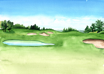 View of golf course with beautiful green field with a rich turf and small lake. Hand drawn watercolor illustration and background
