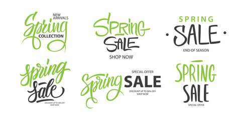 Spring Sale promotional set. Springtime season special offer commercial signs with hand lettering for business, seasonal shopping, sale promotion and advertising. Vector illustration.