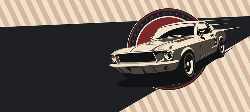 Classic muscle car in vector. Vintage style, solid colors.