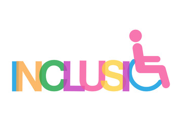 inclusion color word concept with wheelchair vector illustration
