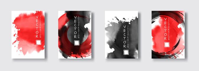 Black red ink brush stroke on white background. Japanese style.