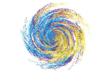 Fototapeten Spirale Colorful dynamic polka dot particles forming a splash swirl pattern