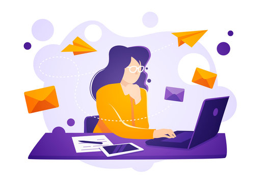 Vector illustration business women sit on laptop, check and send emails. Email service concept.