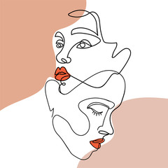 Trendy abstract one line woman faces with pastel shapes. Concept of love. Continuous line print for textile, poster, card, t-shirt etc. Vector fashion illustration.