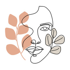Trendy abstract one line woman face with leaves and pastel shapes. Continuous line print for textile, poster, card, t-shirt etc. Vector fashion illustration.