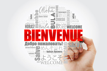 Bienvenue (Welcome in French) word cloud with marker in different languages, conceptual background