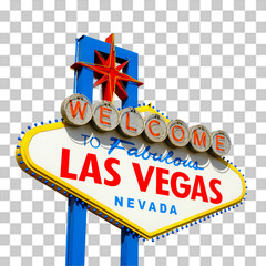 Photo sur Aluminium Las Vegas Welcome to Las Vegas Sign isolated on checkered background including clipping path