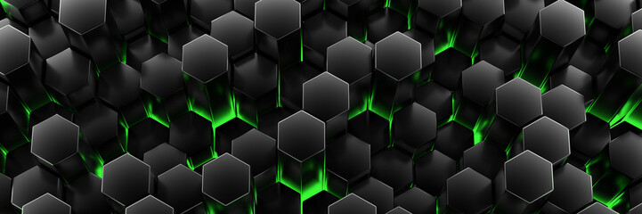 Black background wall of honeycombs. Chaotic Cubes Wall Background. Panorama with high resolution wallpaper. 3d Render Illustration