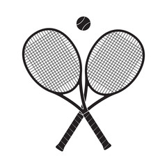Crossed tennis rackets with tennis ball. Vector illustration.