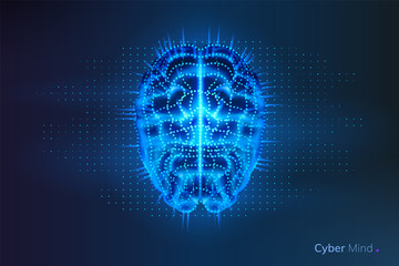 Robot or cyber brain with geometry dots. Circuit board on human or artificial intelligence digital mind, polygonal neural network on glowing cyberbrain. Future technology concept