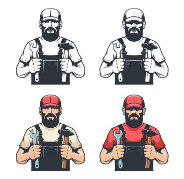 Repair man mechanic holds hammer and wrench - retro illustration. Worker with tools - vintage style. DIY men with beard. Vector illustration.