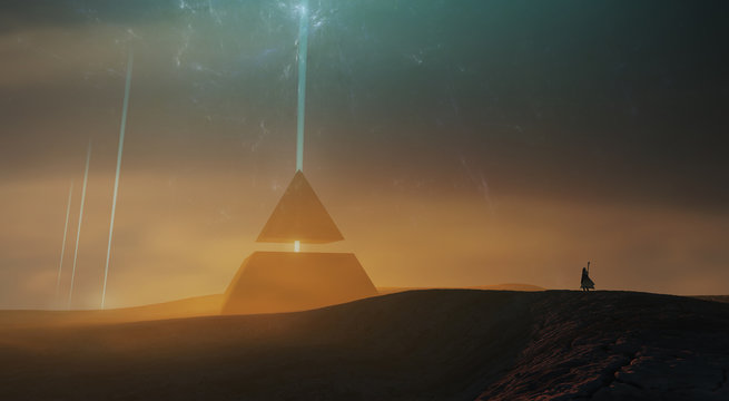 surreal sci fi landscape, magical pyramid in desert landscape 3d illustration