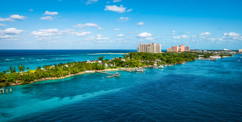 Wall Mural - Panoramic landscape view of Paradise Island, Nassau, Bahamas.