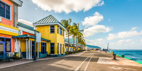 Wall Mural - Colorful houses at the cruise terminal and port of Nassau, Bahamas.