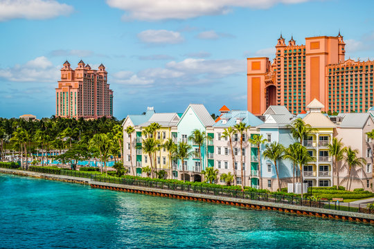 Colorful houses along the waterfront at the ferry terminal of Paradise Island, Nassau, Bahamas.