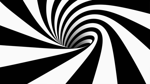 Abstract striped cartoon tunnel. geometrical wormhole shape. Black and white