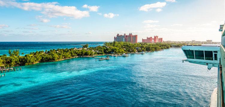 Cruise port of Nassau, Bahamas. View of Paradise Island from the ship.