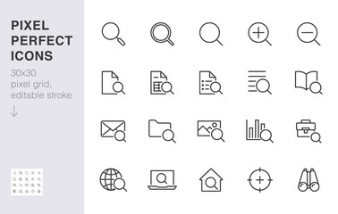 Search line icons set. Zoom, find document, magnify glass symbol, look tool, binoculars minimal vector illustrations. Simple flat outline signs for web interface. 30x30 Pixel Perfect Editable Strokes