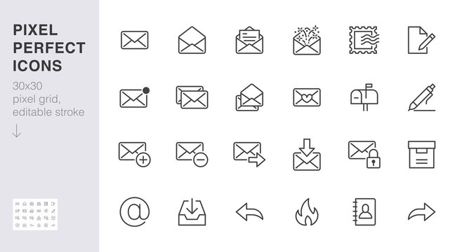Email line icons set. Letter, spam mail, open envelope, postage stamp, mailbox, new document minimal vector illustrations. Simple flat outline signs for web. 30x30 Pixel Perfect. Editable Strokes